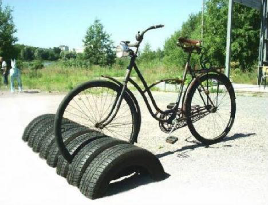 repurposed car tires as bike rack